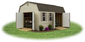 pine creek structures prefab vinyl dutch style barn with ramps and double doors for easy ATV and lawn mower storage