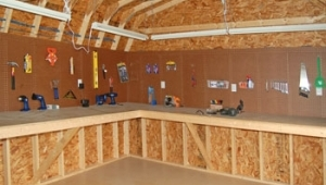 pine creek structures interior options including pegboard and workbenches